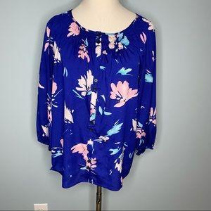 Yumi Kim Isi blue floral peasant blouse